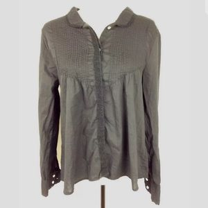 Sundance blouse M black button up half pleated